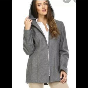 London fog wool blend hooded trench coat grey S